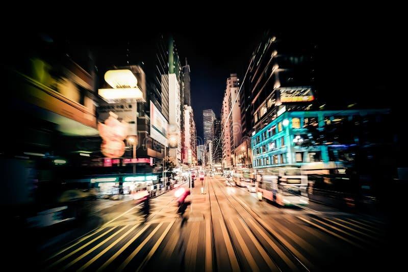 Nowożytna miasto ruchu plama hong kong Abstrakcjonistyczny pejzażu miejskiego ruch drogowy obraz stock