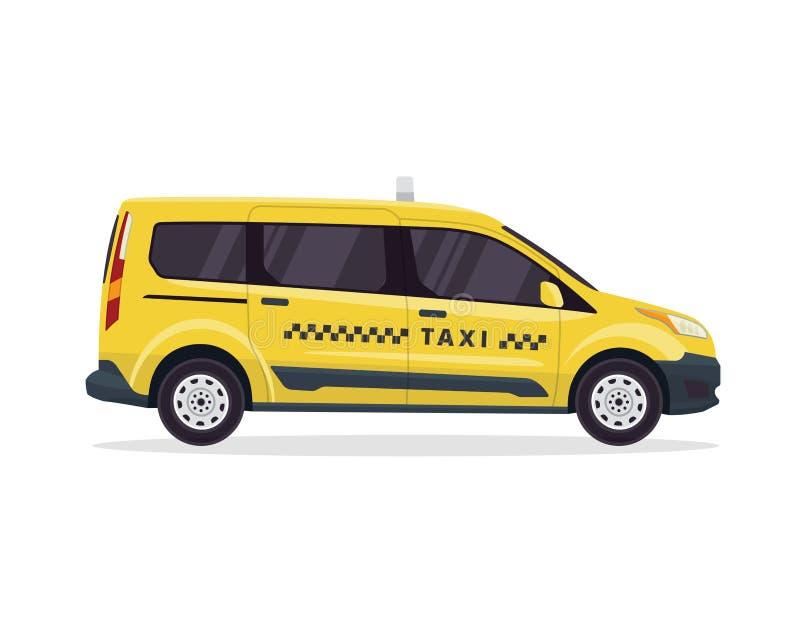 Nowożytna Miastowa Żółta taxi pojazdu ilustracja W Odosobnionym Białym tle ilustracja wektor