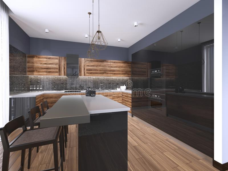 Nowożytna minimalistic kuchnia z współczesnymi drewnianymi dopasowaniami, panoramiczny okno, luksusowy wewnętrzny projekt royalty ilustracja