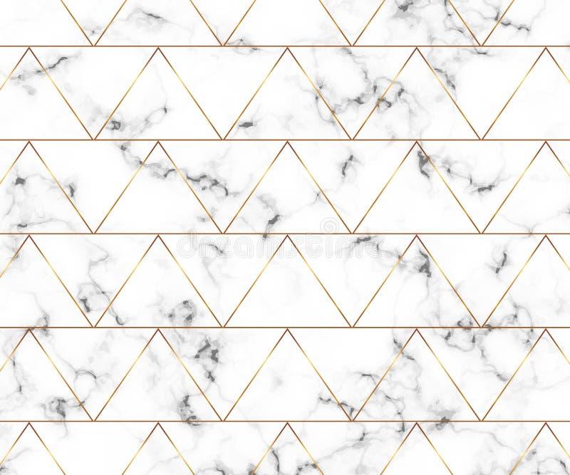 Nowożytna minimalistyczna bielu marmuru tekstura z złocistym geometrycznym linia wzorem Tło dla projekta sztandaru, karta, ulotka royalty ilustracja