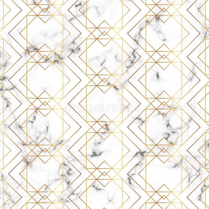 Nowożytna minimalistyczna bielu marmuru tekstura z złocistym geometrycznym linia wzorem Tło dla projekta sztandaru, karta, ulotka ilustracji