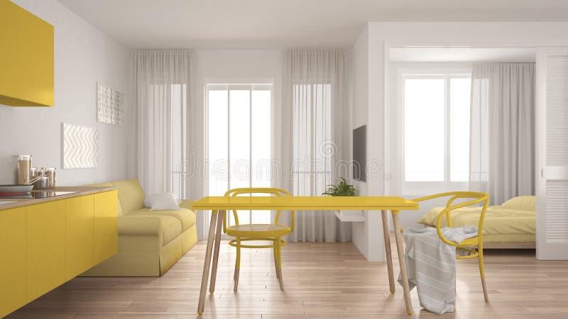 Nowożytna minimalna kuchnia i żywy pokój z sypialnią w backg ilustracji