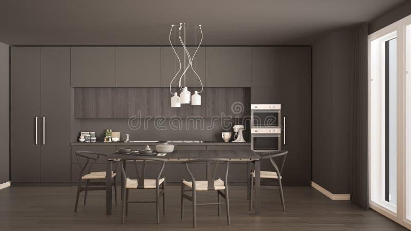 Nowożytna minimalna szara kuchnia z drewnianą podłoga, klasyczny wnętrze obrazy royalty free