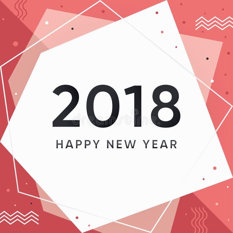 Nowożytna nowego roku 2018 karta ilustracji