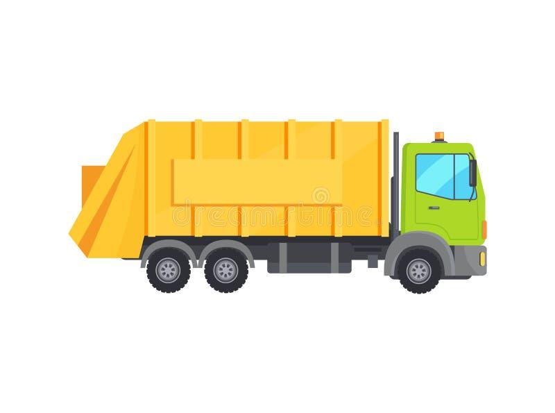 Nowożytna Ogromna Śmieciarska ciężarówka z Długim Żółtym bagażnikiem ilustracji