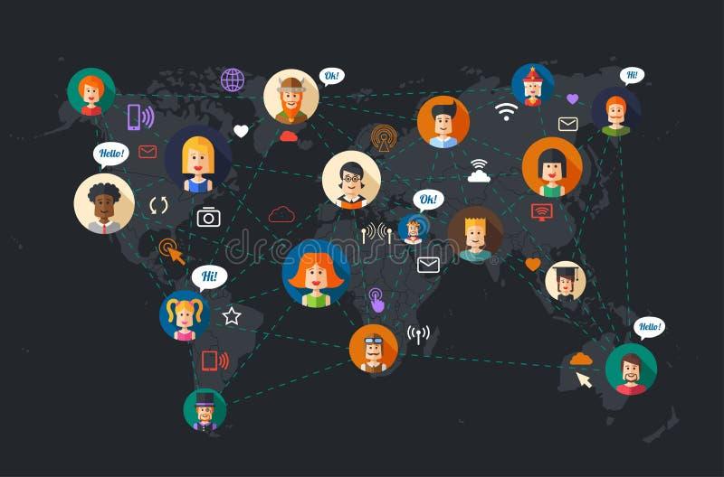 Nowożytna płaska projekt ilustracja ludzie ogólnospołeczni ilustracja wektor