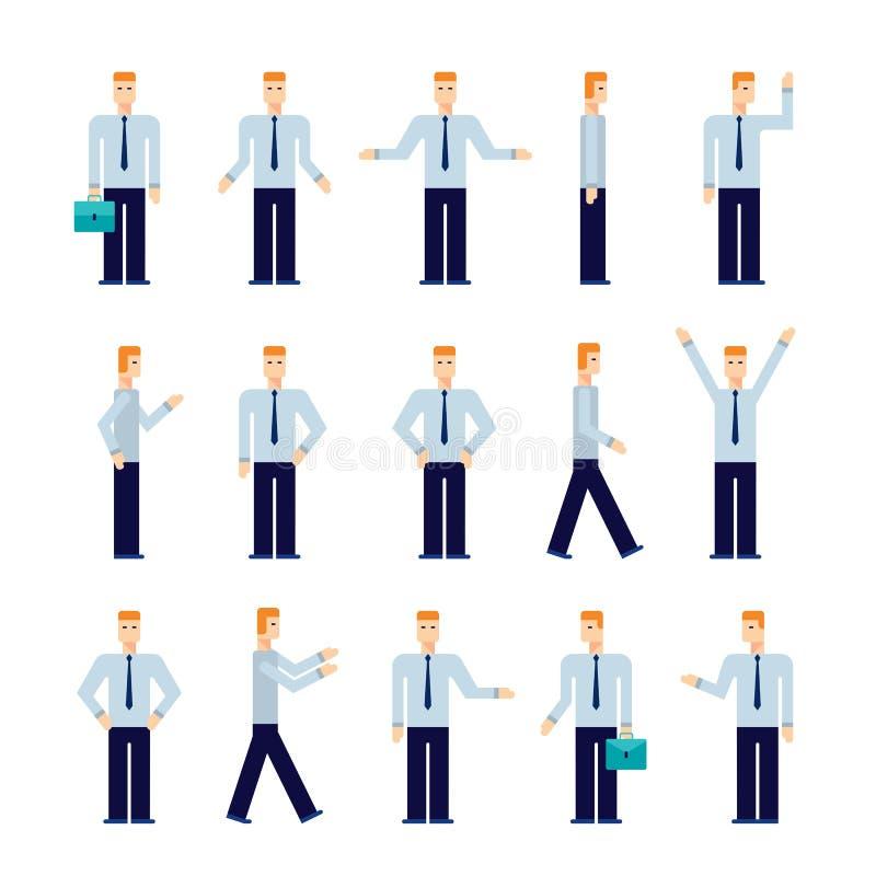 Nowożytna płaska projekt postać z kreskówki - ustaleni biznesmenów ludzie biznesu ilustracji