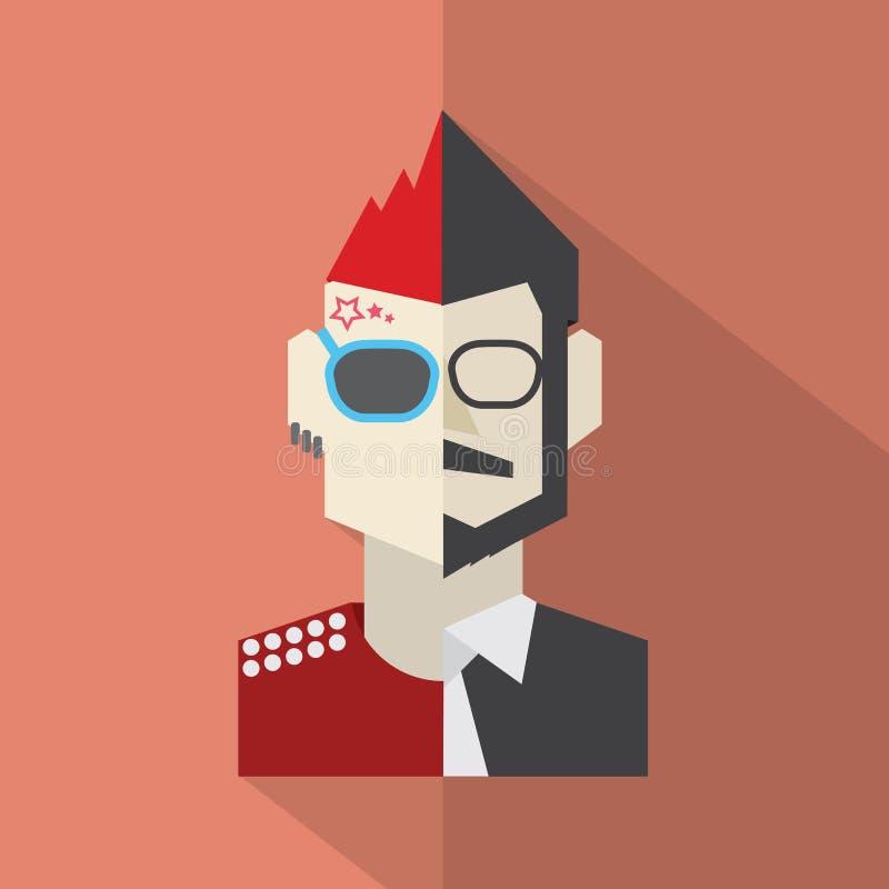 Nowożytna Płaska projekta konfliktu charakteru mężczyzna ikona ilustracja wektor