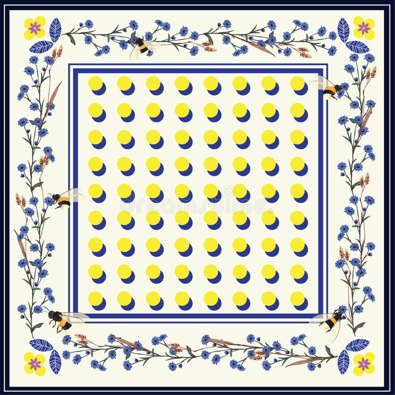 Nowożytna piękna chusta, szalika druk jaskrawe polek kropki z Flowe royalty ilustracja