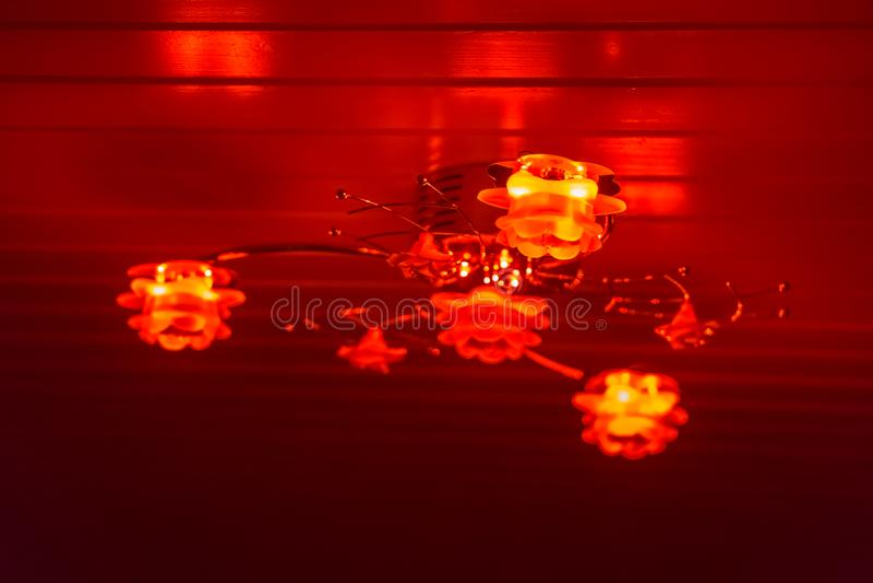 Nowożytna podsufitowa lampa dekorująca z różami, olśniewający czerwone światło w zmroku, domowy wewnętrzny tło zdjęcie stock