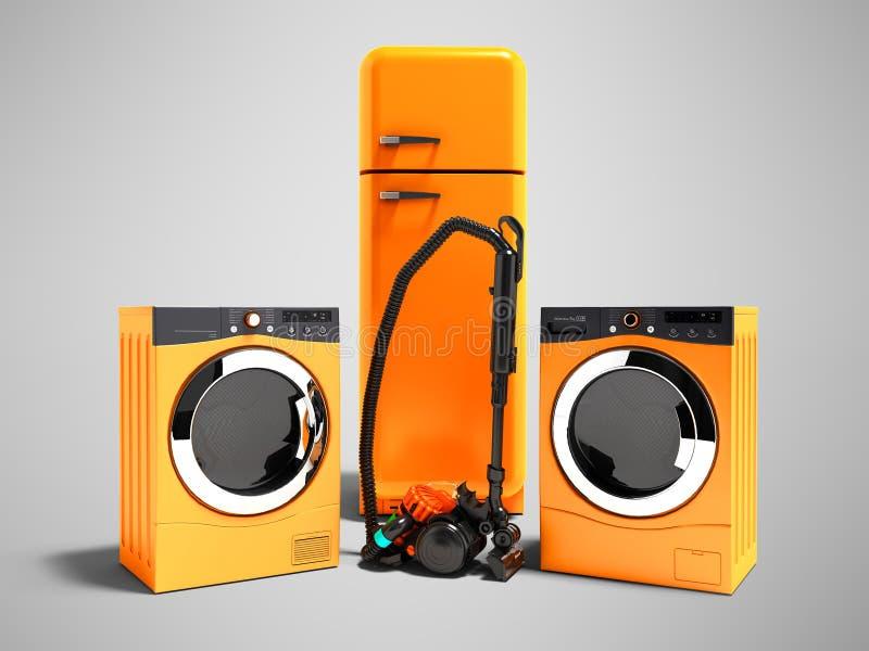 Nowożytna pomarańczowa domowych urządzeń chłodziarki suszarka dla odzieżowej pralki i próżniowego cleaner 3d renderingu na szaryc ilustracji