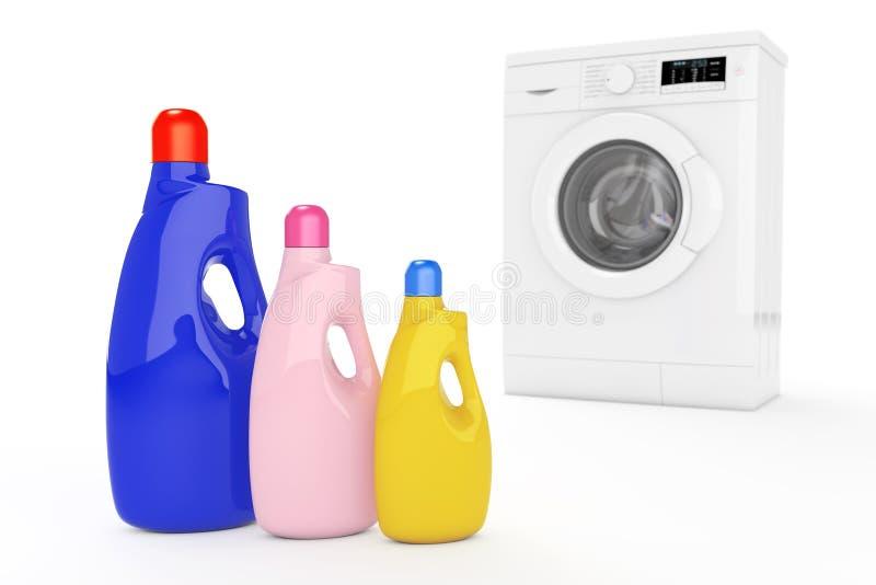 Nowożytna pralka z Colour Detergentowymi butelkami 3D renderi royalty ilustracja