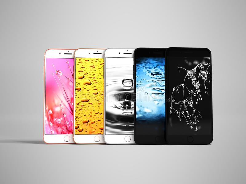Nowożytna prezentacja telefonu komórkowego złoty szary błękitny czerń 3d r ilustracji