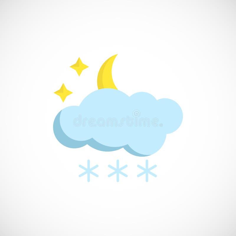 Nowożytna prognozy ikona nocy zimy pogoda na bielu ilustracja wektor