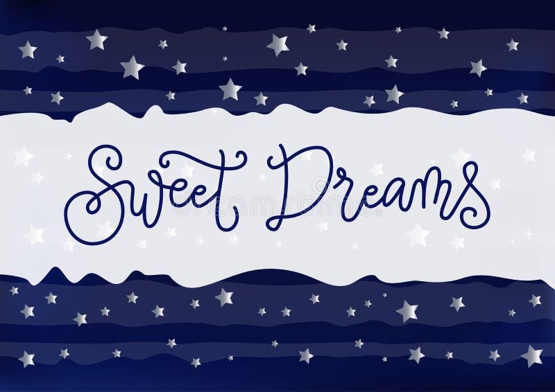 Nowożytna ręcznie pisany kaligrafia Słodcy sen w zmroku - błękit na białym błękitnym pasiastym tle dekorującym z srebnymi gwiazda ilustracja wektor