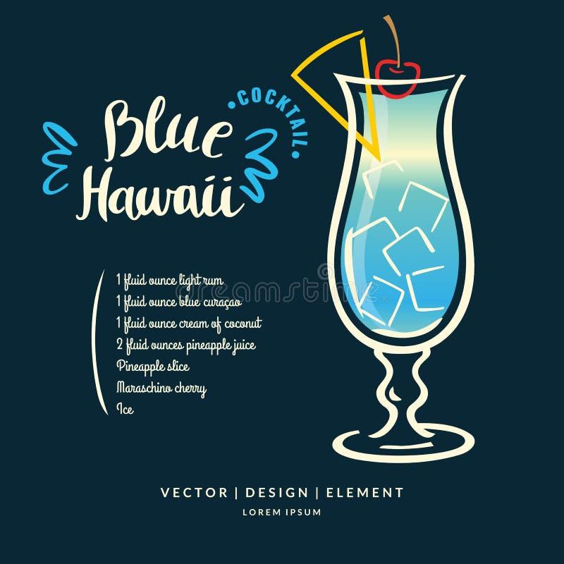 Nowożytna ręka rysująca literowanie etykietka dla alkoholu koktajlu błękita Hawaje ilustracji