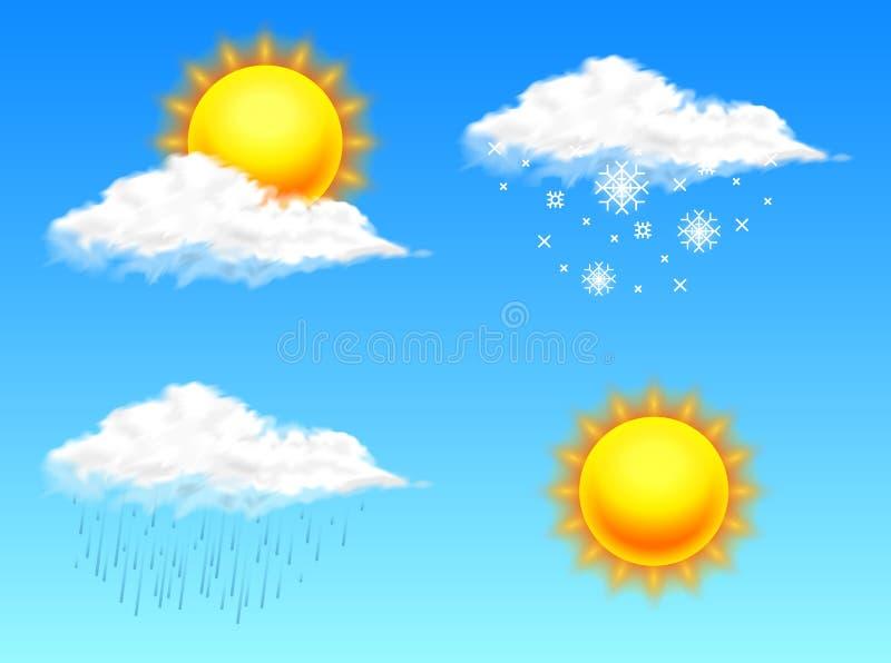 Nowożytna Realistyczna pogodowa ikona Meteorologia symbol na błękitnym tle Barwi Wektorową ilustrację dla wiszącej ozdoby app, dr royalty ilustracja