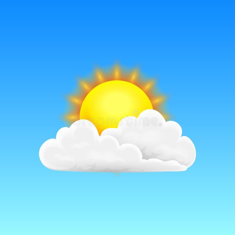 Nowożytna Realistyczna pogodowa ikona Meteorologia symbol na błękitnym tle Barwi Wektorową ilustrację dla wiszącej ozdoby app, dr ilustracja wektor