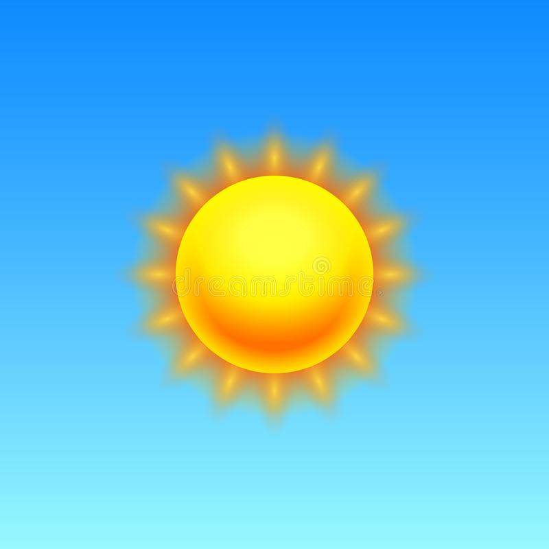 Nowożytna Realistyczna pogodowa ikona Meteorologia symbol na błękitnym tle Barwi Wektorową ilustrację dla wiszącej ozdoby app, dr ilustracji