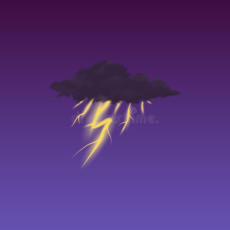 Nowożytna Realistyczna pogodowa ikona Meteorologia symbol na ciemnym tle Barwi Wektorową ilustrację dla wiszącej ozdoby app, druk royalty ilustracja