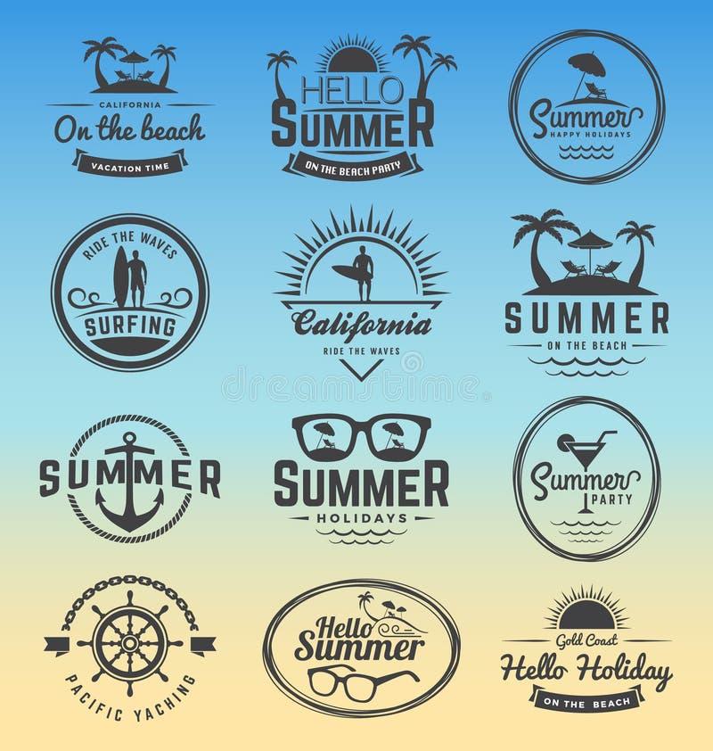 Nowożytna retro insygnia dla wakacji letnich royalty ilustracja