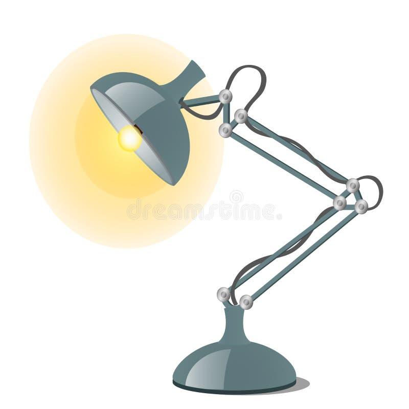 Nowożytna stalowa stołowa lampa odizolowywająca na białym tle Wektorowa kresk?wki zako?czenia ilustracja ilustracji