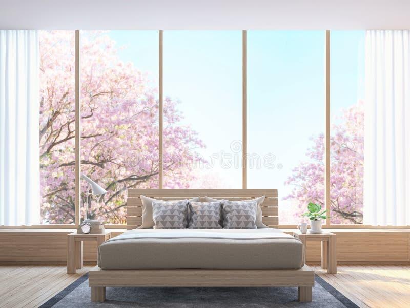 Nowożytna sypialnia dekoruje pokój z drewnianym 3d renderingu wizerunkiem royalty ilustracja