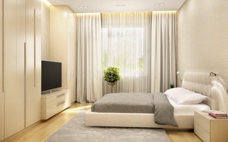 Nowożytna sypialnia w dużym hotelu zdjęcie stock