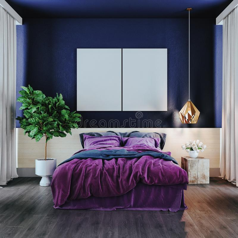 Nowożytna sypialnia w fiołkowym brzmieniu, 3d odpłaca się fotografia royalty free