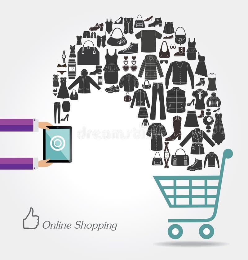 Nowożytna technologia i online zakupy royalty ilustracja