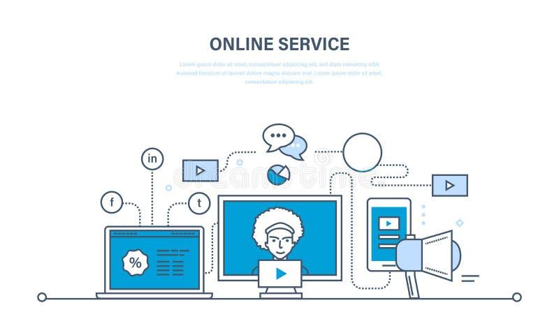Nowożytna technologie informacyjne, komunikacje, online usługa ilustracja wektor