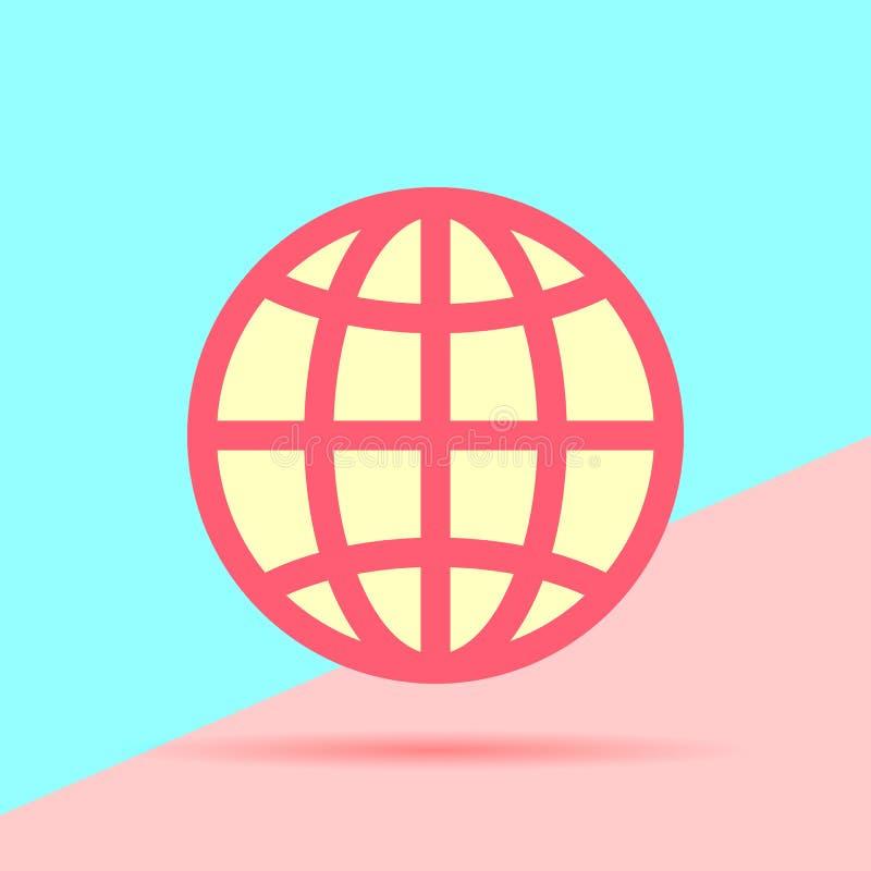 nowożytna trand kuli ziemskiej planety ikona na błękita i menchii tle ilustracji