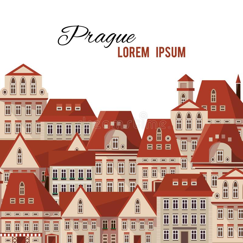 Nowożytna typografii Praga grodzkich domów czerwień zadasza panoramę ilustracja wektor