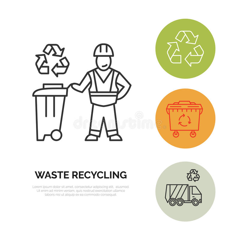 Nowożytna wektor linii ikona jałowy sortować, przetwarza Śmieciarska kolekcja Jałowa brakarka, recycler, janitor Liniowy piktogra ilustracji