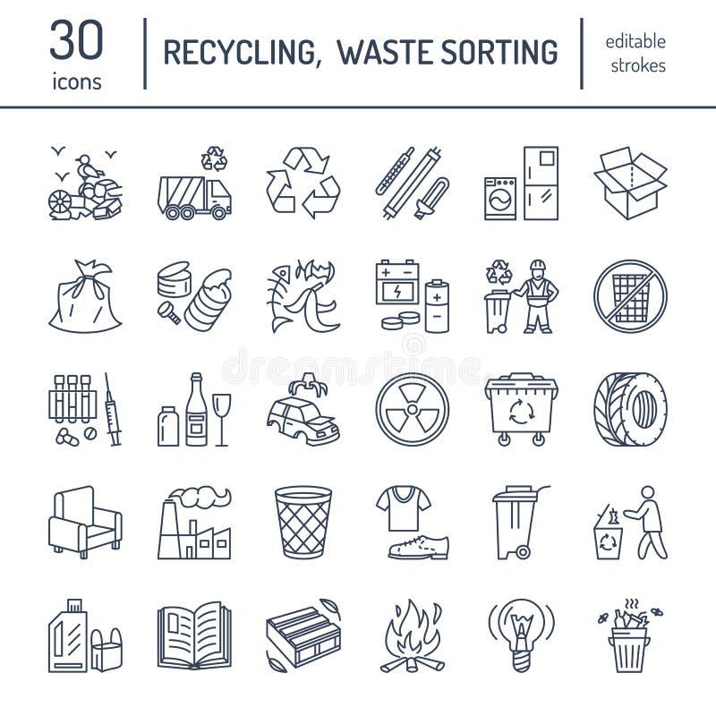 Nowożytna wektor linii ikona jałowy sortować, przetwarza Śmieciarska kolekcja Recyclable odpady - papier, szkło, klingeryt, metal ilustracja wektor