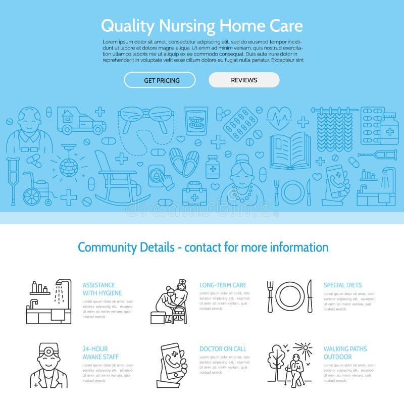 Nowożytna wektor linii ikona senior i starsze osoby dbamy Karmiącego domu elementy - niepełnosprawni, medycyny, szpitala wezwania royalty ilustracja