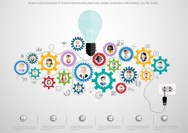 Nowożytna wektorowa ilustracja Biznesowi Brainstorming drużyny pracy składu z ostrą reakcją ludzie, ikona, płaski projekt royalty ilustracja