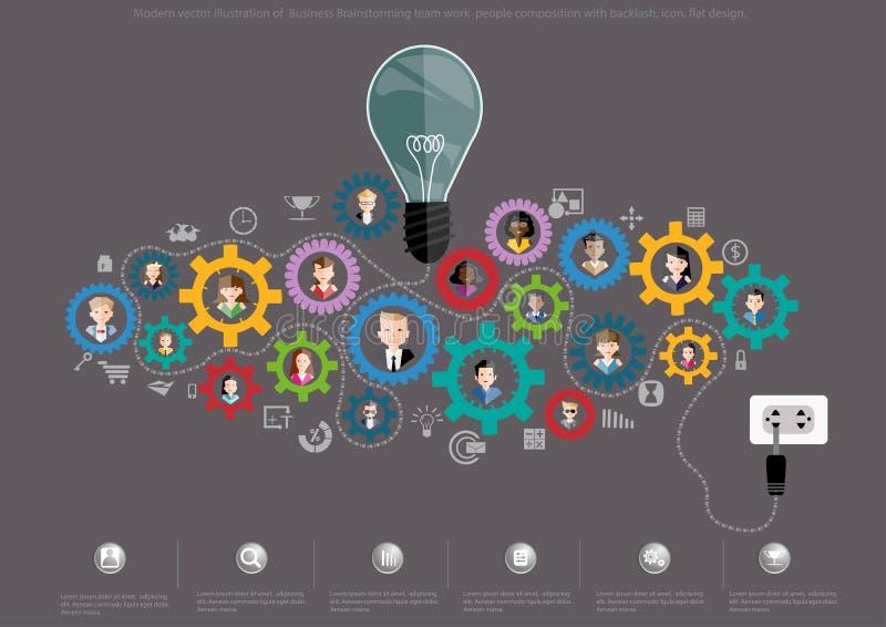 Nowożytna wektorowa ilustracja Biznesowi Brainstorming drużyny pracy składu z ostrą reakcją ludzie, ikona, płaski projekt ilustracja wektor
