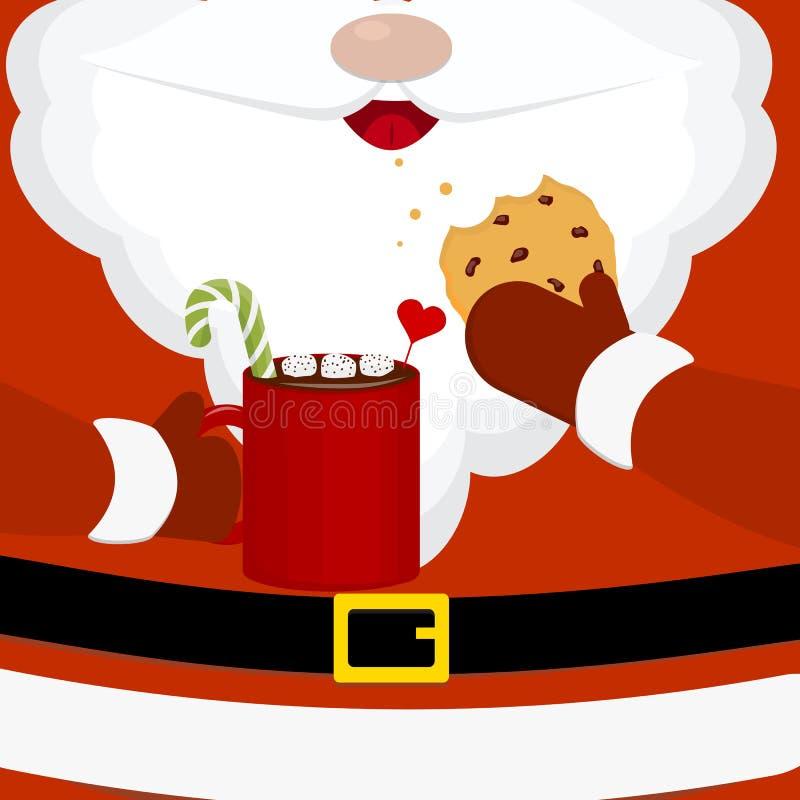 Nowożytna wektorowa ilustracja Santa Claus z mleka i oatmeal ciastkami Kartka bożonarodzeniowa plakata sztandar Bożenarodzeniowy  ilustracja wektor