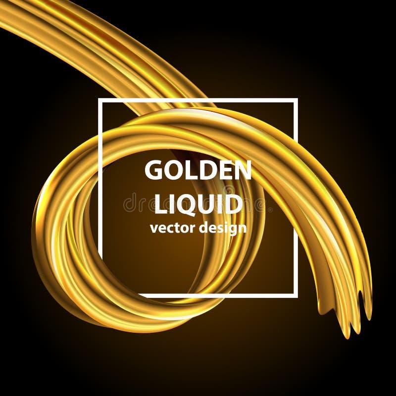 Nowożytna złota przepływ fala Wektorowy Ciekły kształt Sztuka projekt dla twój projekta ilustracja wektor