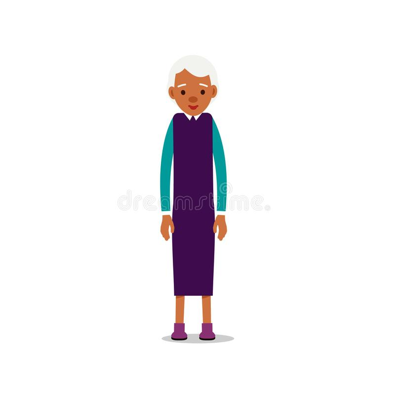 Nowożytne afrykańskie stare kobiety Stara czarna dama przechodzić na emeryturę Szczęśliwa babci pozycja, ono uśmiecha się i Trady royalty ilustracja