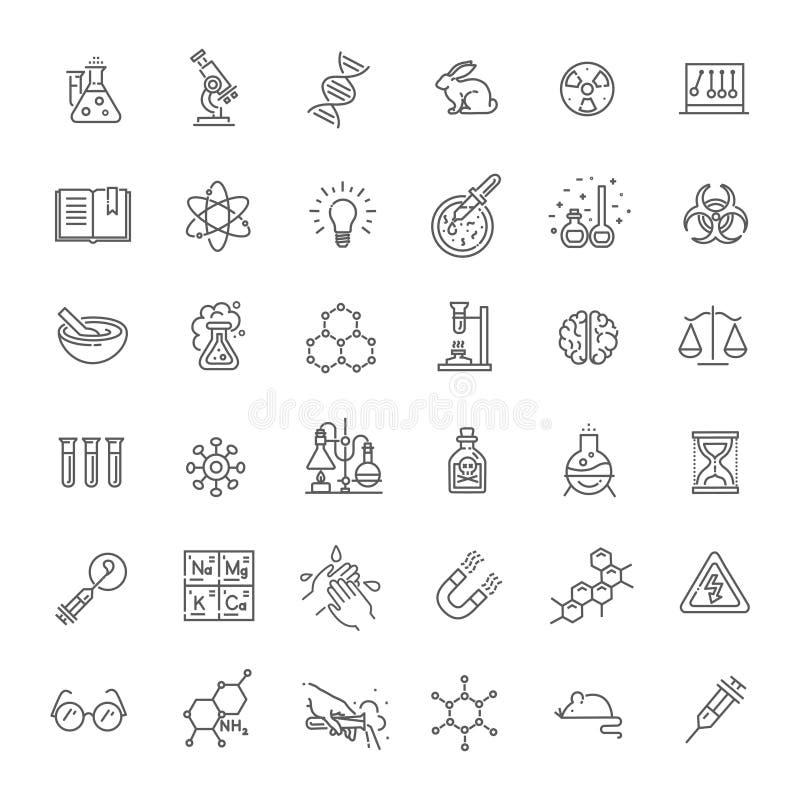 Nowożytne cienkie kreskowe ikony ustawiać biochemie badają ilustracja wektor