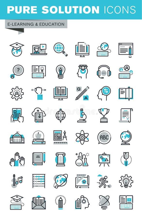 Nowożytne cienkie kreskowe płaskie projekt ikony ustawiać online edukacja ilustracji