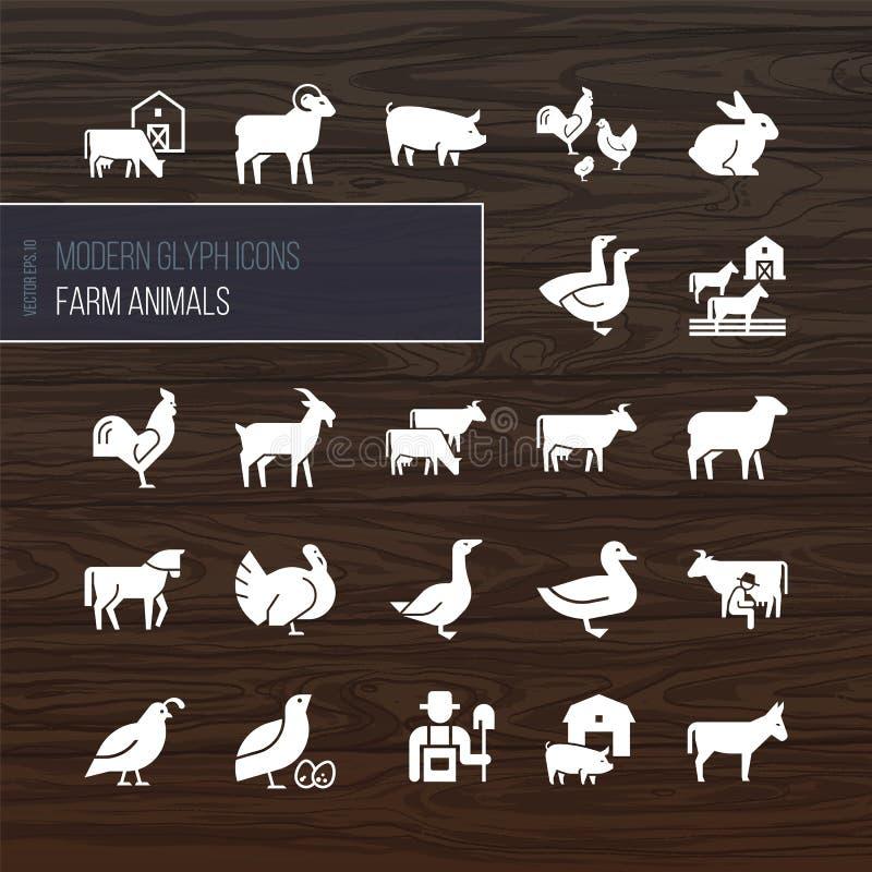 Nowożytne glif ikony zwierzęta gospodarskie od 22 ikon rysować w wektorze i odizolowywać ilustracja wektor