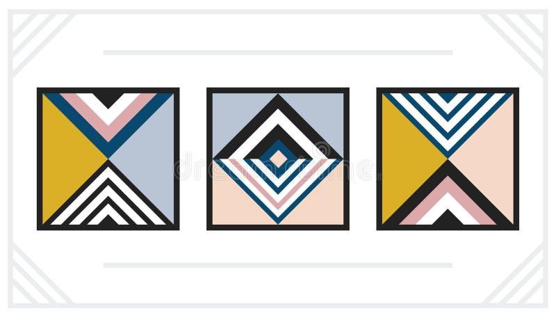 Nowożytne horyzontalne retro geometryczne sztuki dekoracji kwadrata ramy ustawiają na bielu royalty ilustracja