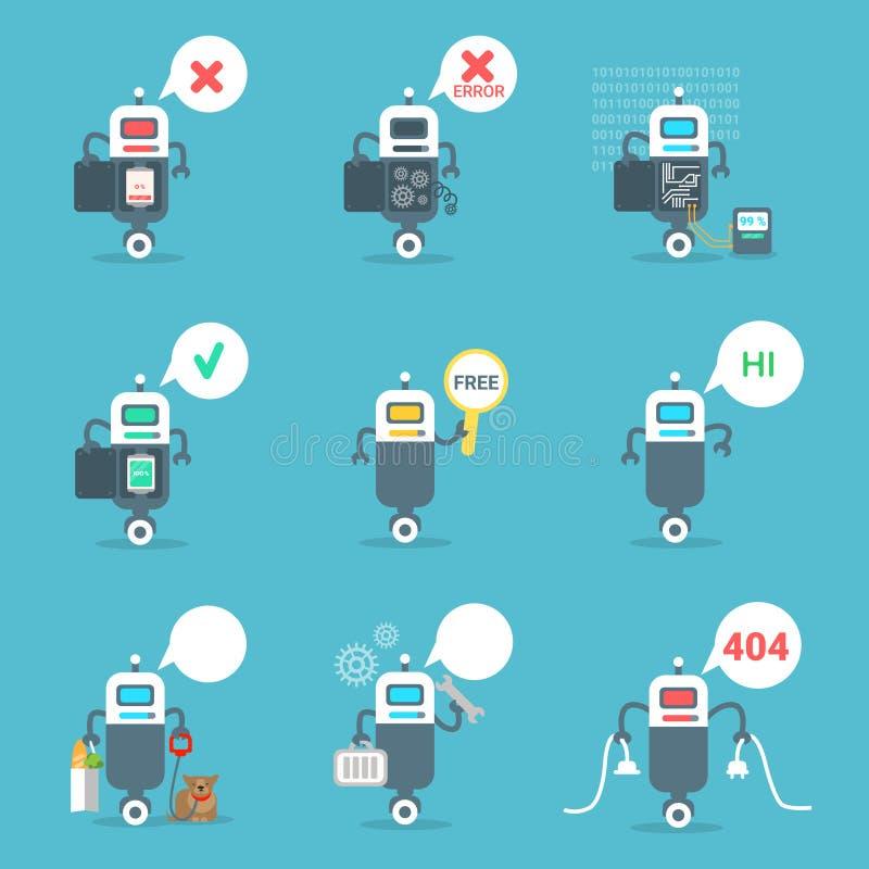 Nowożytne ikony Ustawiający robot gadki larwy Sztucznej inteligenci technologii pojęcie ilustracja wektor