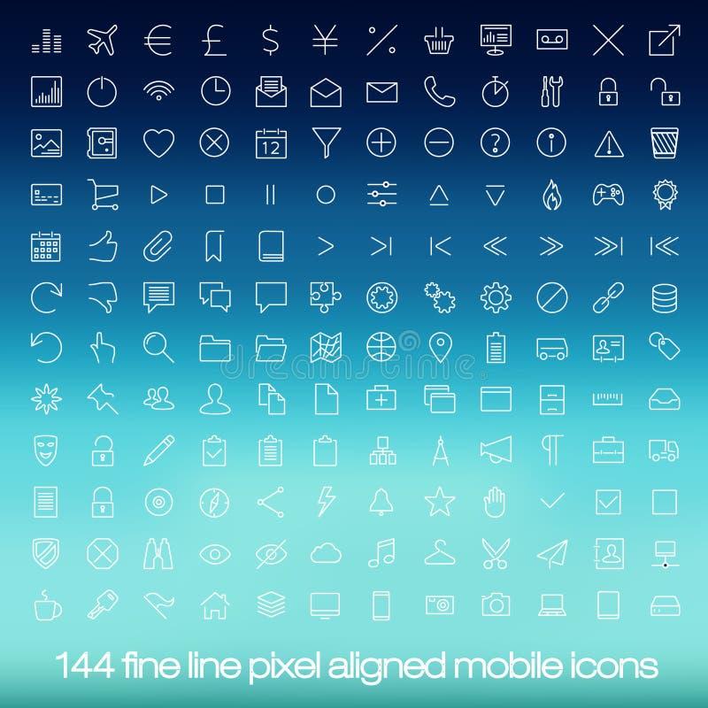 Nowożytne interfejs użytkownika linii ikony, piksle perfect royalty ilustracja