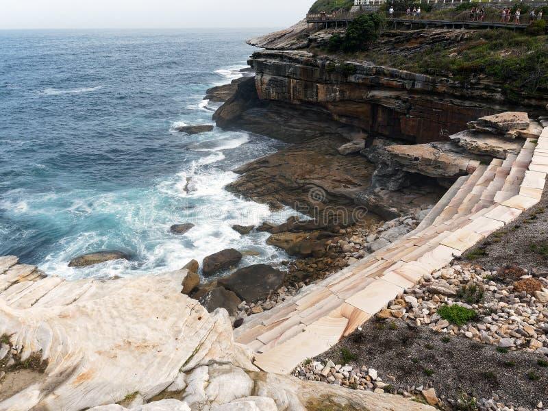 Nowożytne Kamienne Wspornikowe ściany, Bronte falezy, Sydney, Australia zdjęcie stock