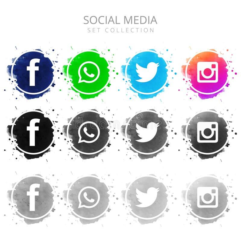 Nowożytne kolorowe ogólnospołeczne medialne ikony ustawiający projekt royalty ilustracja
