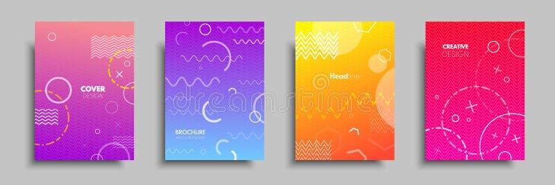 Nowożytne kolorowe pokrywy z barwiącymi geometrycznymi przedmiotami i kształtami Abstrakcjonistyczny projekta szablon dla broszur ilustracja wektor